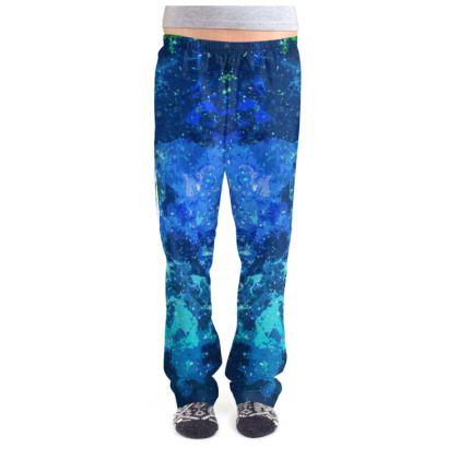 Ladies Pyjama Bottoms - Blue Nebula Galaxy Abstract
