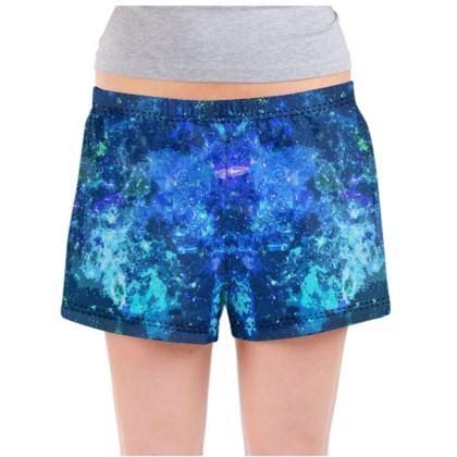 Ladies Pyjama Shorts - Blue Nebula Galaxy Abstract