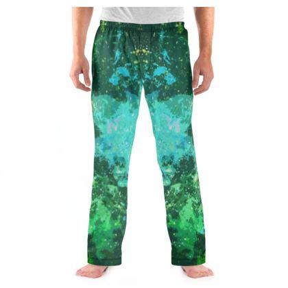 Men's Pyjama Bottoms - Jade Nebula Galaxy Abstract