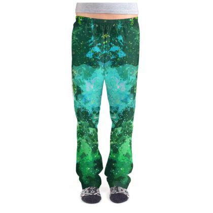 Ladies Pyjama Bottoms - Jade Nebula Galaxy Abstract