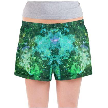 Ladies Pyjama Shorts - Jade Nebula Galaxy Abstract