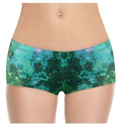 Hot Pants - Jade Nebula Galaxy Abstract