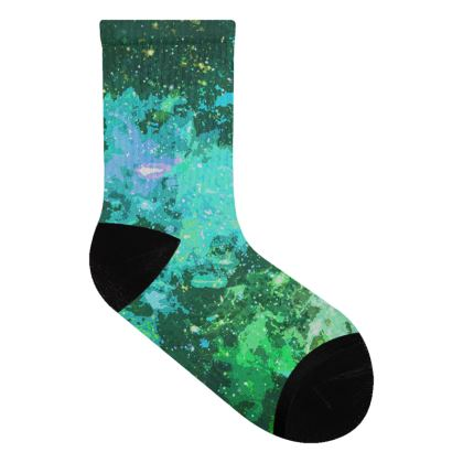 Socks - Jade Nebula Galaxy Abstract