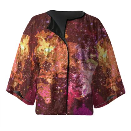 Kimono Jacket - Orange Nebula Galaxy Abstract