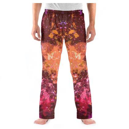 Men's Pyjama Bottoms - Orange Nebula Galaxy Abstract