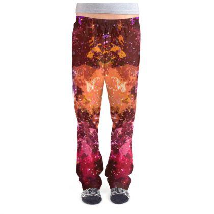 Ladies Pyjama Bottoms - Orange Nebula Galaxy Abstract