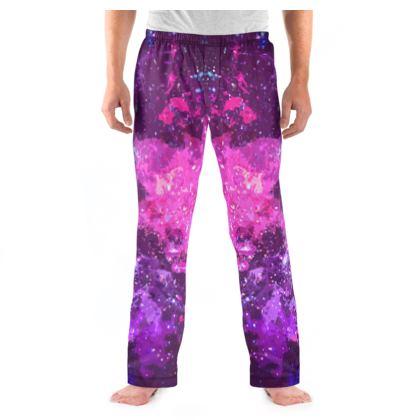 Men's Pyjama Bottoms - Pink Nebula Galaxy Abstract