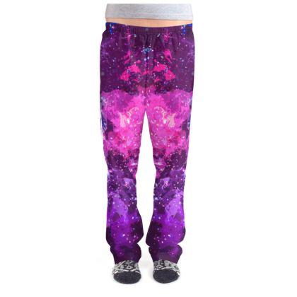 Ladies Pyjama Bottoms - Pink Nebula Galaxy Abstract