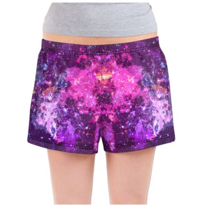 Ladies Pyjama Shorts - Pink Nebula Galaxy Abstract
