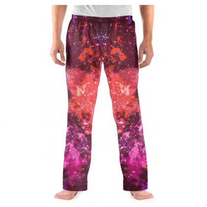 Men's Pyjama Bottoms - Red Nebula Galaxy Abstract