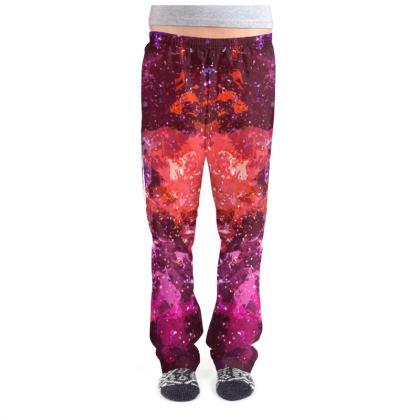 Ladies Pyjama Bottoms - Red Nebula Galaxy Abstract