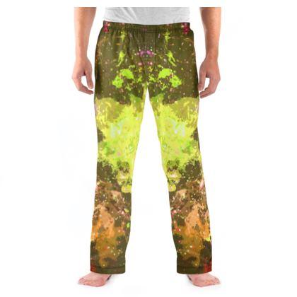 Men's Pyjama Bottoms - Yellow Nebula Galaxy Abstract