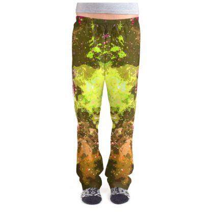 Ladies Pyjama Bottoms - Yellow Nebula Galaxy Abstract