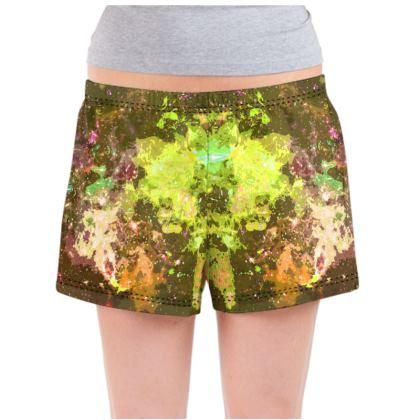 Ladies Pyjama Shorts - Yellow Nebula Galaxy Abstract