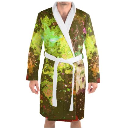 Dressing Gown - Yellow Nebula Galaxy Abstract