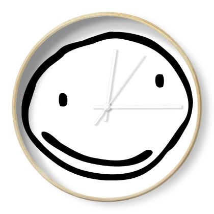 Time to Smile, Black and White Wall Clock