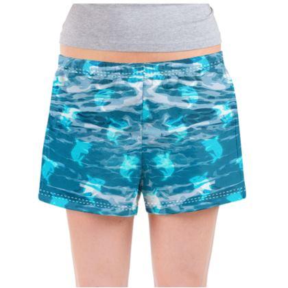 Ladies Pyjama Shorts - Shark Ocean Abstract