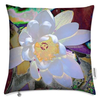 """FLORAL PRINTED CUSHION IN """"WHITE LILY"""""""