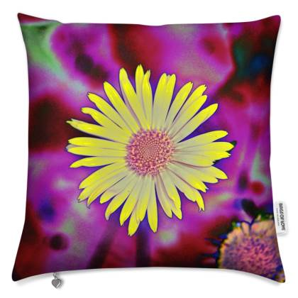 """FLORAL PRINTED CUSHION IN """"YELLOW DAISY"""""""