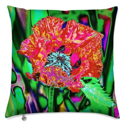 """FLORAL PRINTED CUSHION IN """"RED POPPY"""""""
