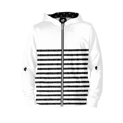 French stripy Hoodie, Black and White Illustration