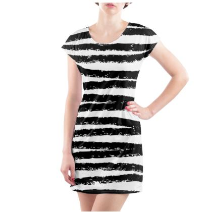 French striped Ladies Tunic T Shirt, Black and White Illustration
