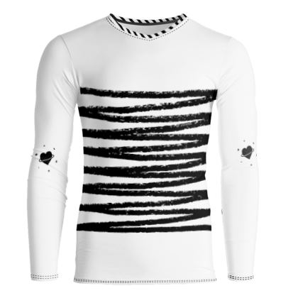 Zigzag Striped black and white Slim Fit T-Shirt