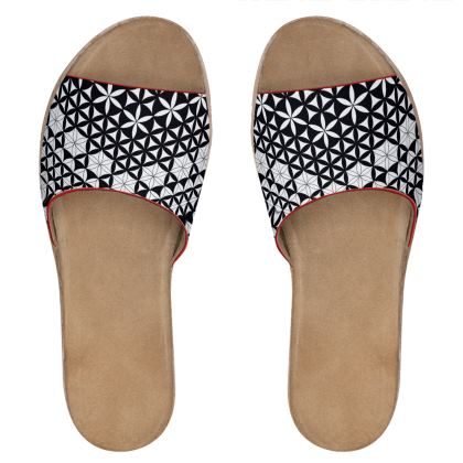 Womens Leather Sliders Flower Of Life