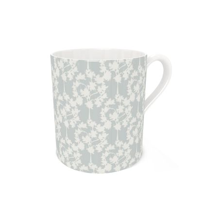 Autumnal Forest Pattern Silver Ivory Coffee Mug