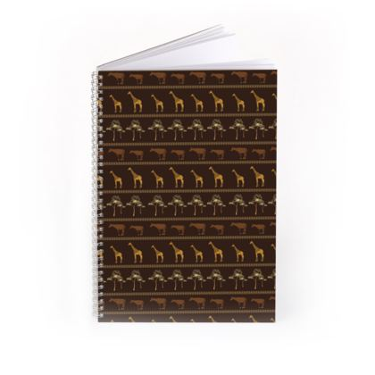 Giraffe & Okapi ~ Earthy Golds Print Notebook