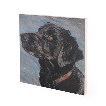 Rufus the Black Labrador Retriever Vintage Style Fine Art Wood Print by Somerset (UK) Artist Amanda