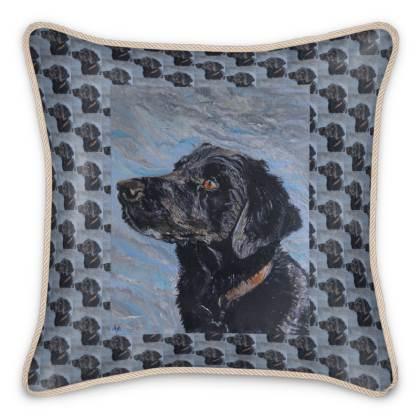 Rufus the Black Labrador Retriever Luxury Fine Art Silk Cushion by Somerset (UK) Artist Amanda Boorman