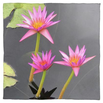 Scarf Wrap or Shawl - Pink Waterlilies