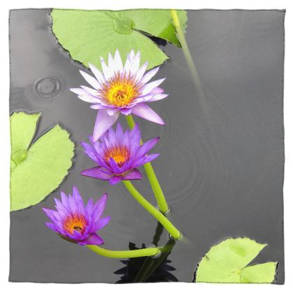 Scarf Wrap or Shawl - Lavender Waterlilies