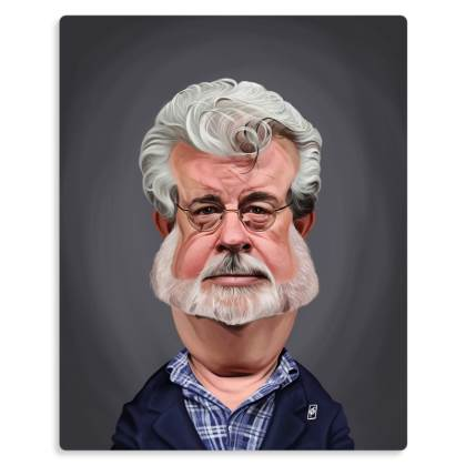 George Lucas Celebrity Caricature Metal Print