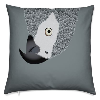 African Grey Parrot [Charcoal Grey] Cushions
