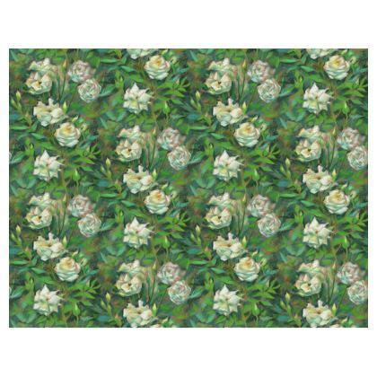 White Roses, Green Leaves Handbags