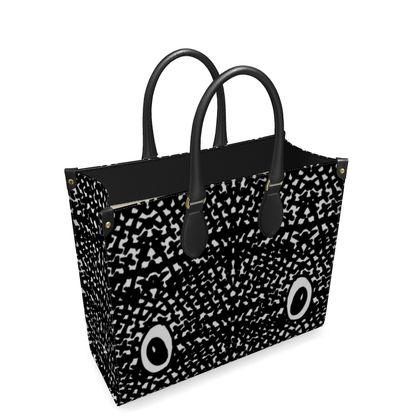 Pet monster Leather Shopper Bag, Black and White