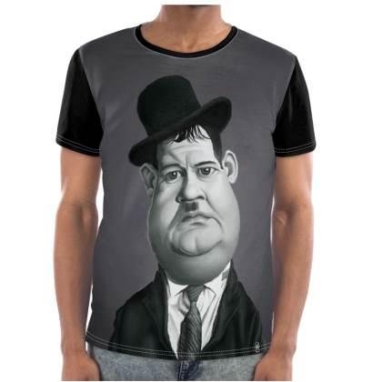 Oliver Hardy Celebrity Caricature Cut and Sew T Shirt