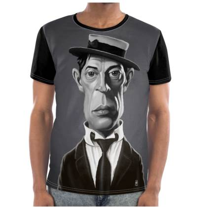 Buster Keaton Celebrity Caricature Cut and Sew T Shirt