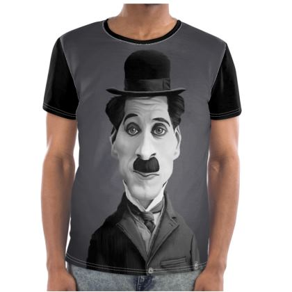 Charlie Chaplin Celebrity Caricature Cut and Sew T Shirt