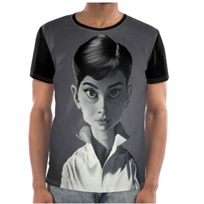 Audrey Hepburn Celebrity Caricature Cut and Sew T Shirt
