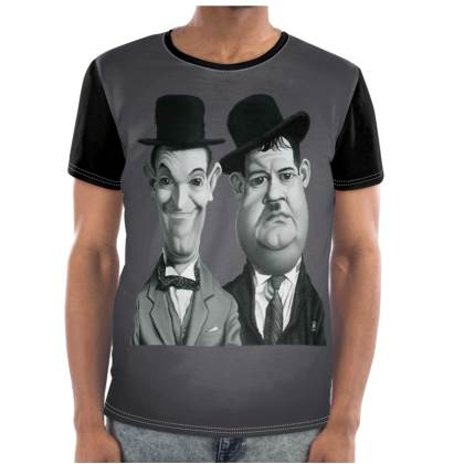 Laurel and Hardy Celebrity Caricature Cut and Sew T Shirt