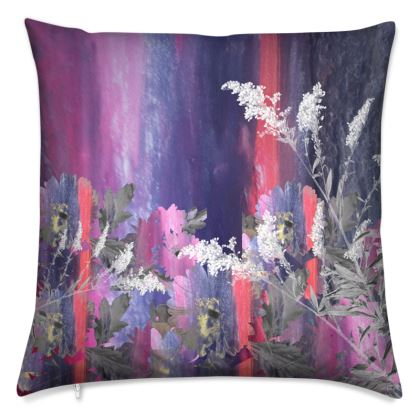Purple and Red Floral Cushion
