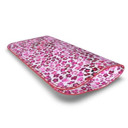 Leopard Skin in Magenta Collection Leather Glasses Case