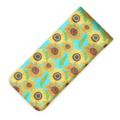 Naive Sunflowers On Turquoise Glasses Case Pouch