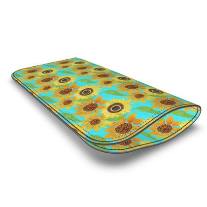 Naive Sunflowers On Turquoise Leather Glasses Case