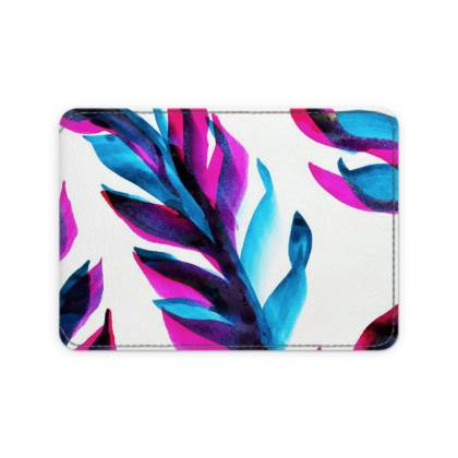 Bright Pink and Blue Leaf Leather Card Case