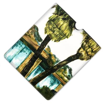 Palm Tree and Mid-century Modern House WatercolourLeather iPad Case