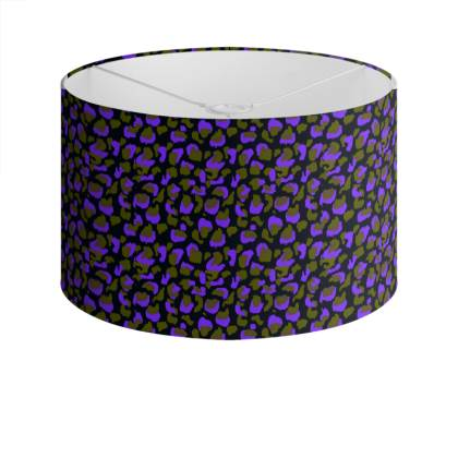 Purple and Green Floral Animal Print Drum Lamp Shade